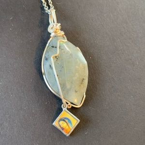 Silver Labradorite & Mother Mary Charm Necklace